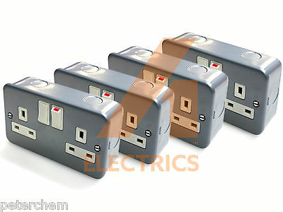 4x twin electrical wall switch socket 13 amp metalclad with 40mm double backbox