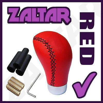 Red Leather Gear Shift Knob Stick Manual Shifter Selector Lever Change Vehicle