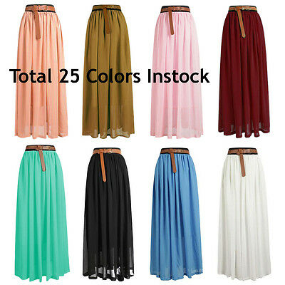 a23e74a4f Lady Women Chiffon Maxi Skirt Pleated Retro Long Dress Elastic Waist | 25  Colors