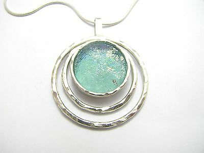 Amazing Bluish Roman Glass 925 Sterling Silver Pendant Necklace