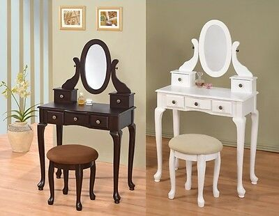 Wooden 5-Drawer Vanity Set in White/Espresso W/ Stool and Cheval Mirror