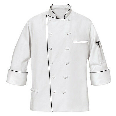 MENS MASTER CHEF COAT with black piping size XL,3XL,4XL