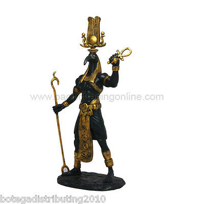 Black Gold Thoth Figurine Ancient Egyptian Statue Deities Ra Boat God Knowledge