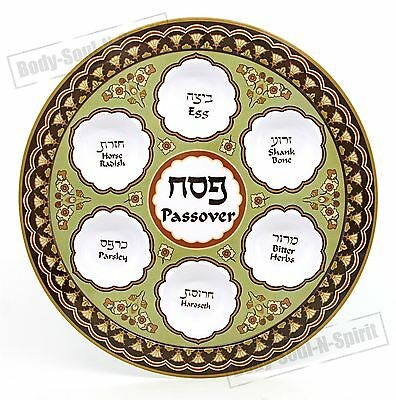 PASSOVER SEDER Jewish Plate Dish traditional Melamine Hebrew Israel Judaica Gift