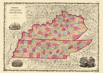 Old State Map Kentucky Tennessee Johnson 1864 23 X 32 65