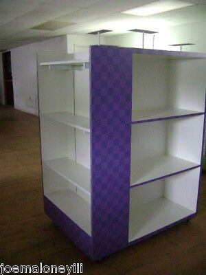 Retail Shelving Rack  4 Sided White & Purple Box Shoe Display W/ Mirror
