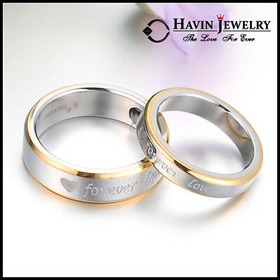 "His and Hers Stainless Steel ""forever love"" Couple Rings Wedding  Band Ring Xmas"