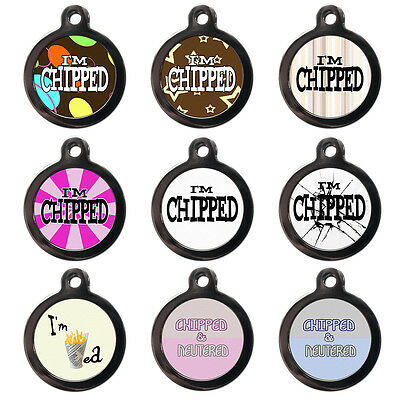 I'm Chipped Fun Cute Pet Dog Cat Name ID Tag For Collar Pet Tags - Engraved FREE