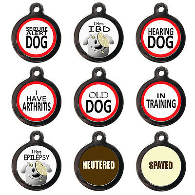 Medical Alert PET ID TAGS - IBD Epilepsy Seizure - Dog Cat Discs - PERSONALISED