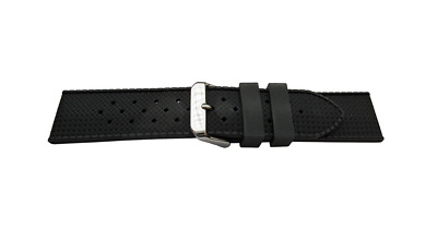 Brand New Vintage Looking Seiko Style Swiss Tropic Black Rubber Watch Strap