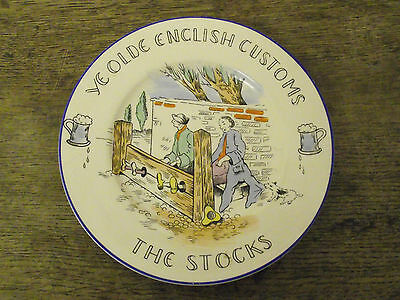 VINTAGE BURLEIGH WARE PLATE - YE OLDE ENGLISH CUSTOMS - THE STOCKS