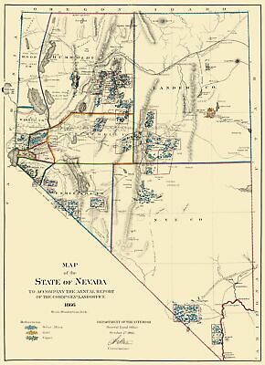 Old Mining Map - Mining Nevada - General Land Office 1866 - 23 x 31.77