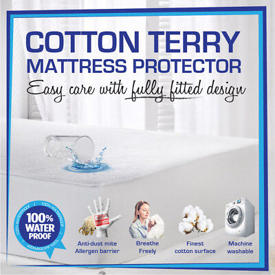 Fully Fitted Waterproof Mattress Protector-Cot/Single/Double/Queen/King-All Size