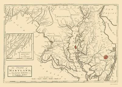 Old State Map - Maryland - Lewis 1796 - 23 x 32.24
