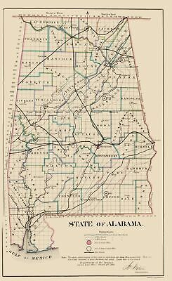 Old State Map - Alabama - Glo 1866 - 23 x 37.48