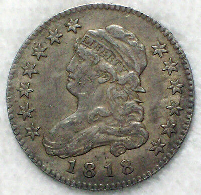 1818 over 15 Bust Quarter DOLLAR SILVER XF+ Detailing B-1 Variety Overdate 18/15