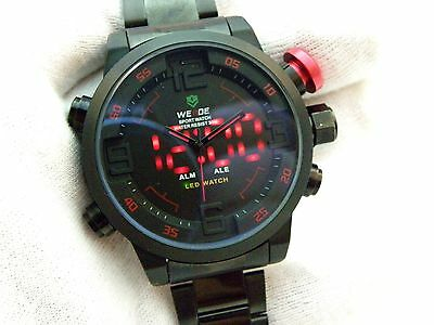 "WEIDE,Big Black Stainless Steel,""Anolog & LED w/Alarm"" MEN'S WATCH,NEW,R15-04"