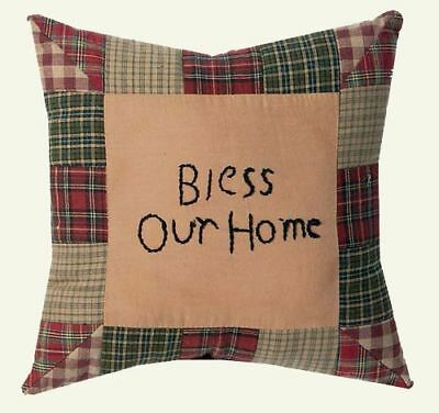Bless Our Home Tea Cabin 10x10 Primitive patch Throw Pillow Patchwork Sage Green
