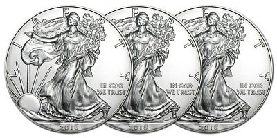 Lot de 3 pieces en argent American Eagle 2016 NEUVES 1 once 1 oz silver