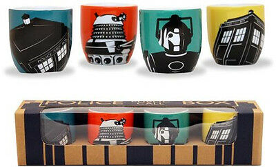 Dr Who - 4 Piece Fine Porcelain Egg Cup Set - New & Official BBC In Picture Box