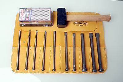 Tungsten Tip Stone Carving Mallet Head Full Chisel Set w Free Tool Roll or Block