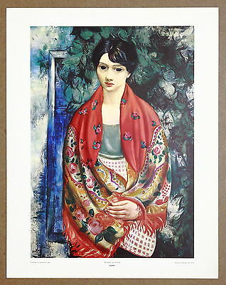 Kisling  Woman in Shawl  Rare Vintage Original Lithograph Print from the 60's