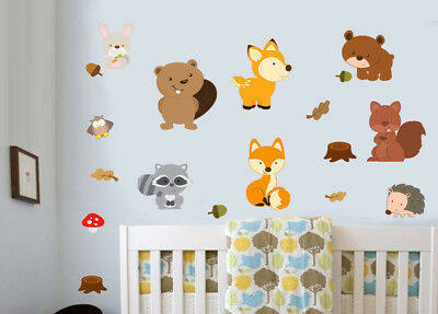 Woodland Animals Pack of 18 Wall Art Stickers Murals Decals Childrens Fox Forest
