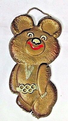 1980 Moscow XXII Olympic Games Mishka Bear Mascot Cast Metal Wall Plaque Rare