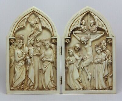 "Catholic Diptych Crucifix Cross Figurine Statue Jesus Ascension Virgin Mary 8""H"