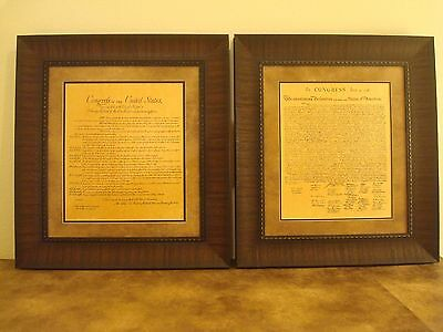 Framed The Bill Of Rights & Declaration Of Independence Printed Parchment Paper