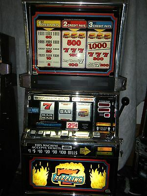 """IGT S2000  SLOT MACHINE """" SIZZLING 7 """" COINLESS - CASINO CLASSIC"""
