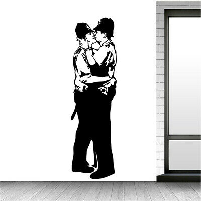 Banksy Kissing Cops Wall Decal Removable Sticker Vinyl Decor Street Art Transfer