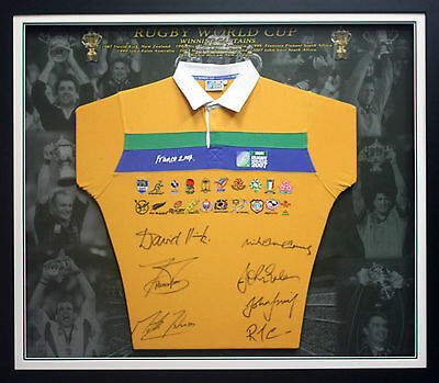 Rugby Union World Cup Captains Signed Jersey Framed Wallabies All Blacks England