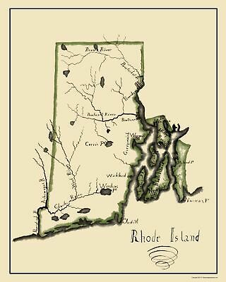 Old State Map - Rhode Island - Henshaw 1828 - 23 x 28.72