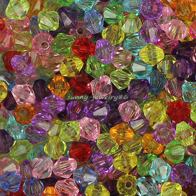 Wholesale 500pcs Mixed Color Acrylic Faceted Bicone Spacer Loose Beads 6mm SL48
