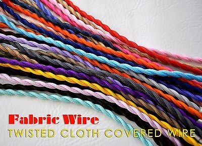 Cloth Covered Wire - 10 Ft. Twisted Lamp Cord, Vintage Style Fabric Wire