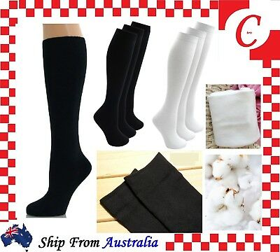 Cotton Long School Knee High black white Socks Unisex Men Women Boys Girls Kids
