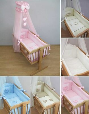9 Piece Crib Baby Bedding Set 90 x 40 cm Fits Swinging /Rocking Cradle - Heart