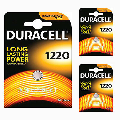 3 x Genuine Duracell CR1220 DL1220 Lithium 3v Batteries Coin Cell Use By 2026