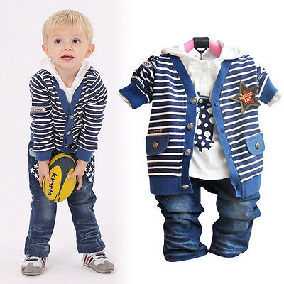 Toddler Boy 3 PC Outfit Set Casual Suit Size 1-5 Years Cardigan+Top+Jeans