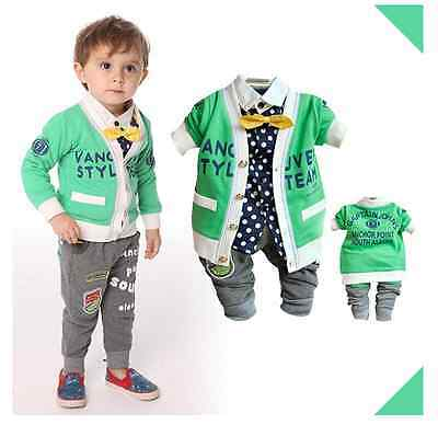Toddler Boy 3 PC Outfit Set Casual Party Suit Size 1-5 Years Jacket+Top+trousers