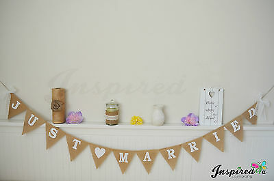 1e6894578f2f04 Just Married Hessian Bunting Rustic Burlap Wedding Bride Garland Banner Lace