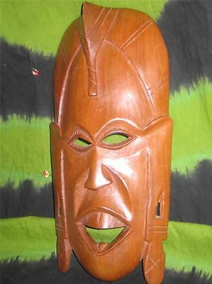 """14"""" AFRICAN Ethnic Tribal MASK  PLAQUE FACE STATUE ALTAR WOODEN HEAD"""
