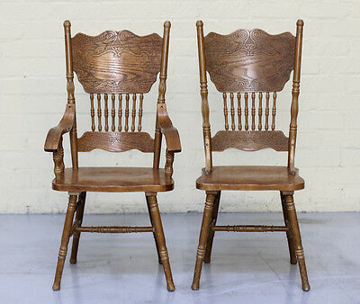 Pair Hand Carved American Chairs in Oak - 1970s.