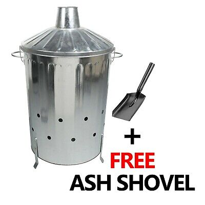 90L Galvanised Incinerator Fire Bin Garden Paper Rubbish Leaves Burner + Shovel