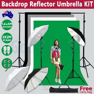 1350W Studio Umbrella Lighting Black White Green Screen Backdrop Light Stand Kit