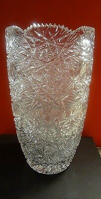 ABP AMERICAN BRILLIANT PERIOD CUT GLASS CRYSTAL VASE HEAVY DECORATED PATTERN