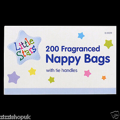 200 Disposable Fragranced Nappy Bags Baby Diaper Perfumed Scented With Handles