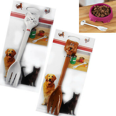 Plastic Pet Spoon Cat or Dog Funny Pets Can Food Feeder Fork Pet Pussy Feeding