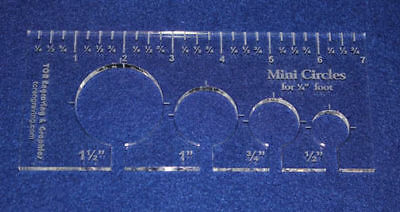 """4 Hole Mini-Circle Quilt Template w/Ruler 1/4"""" Thick -  Long Arm- For 1/4"""" Foot"""